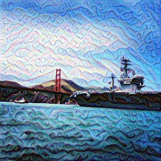 Golden Gate bridge and Destroyer Deep Dream, SF, San Francisco, DeepDream, deep dream, neural nets
